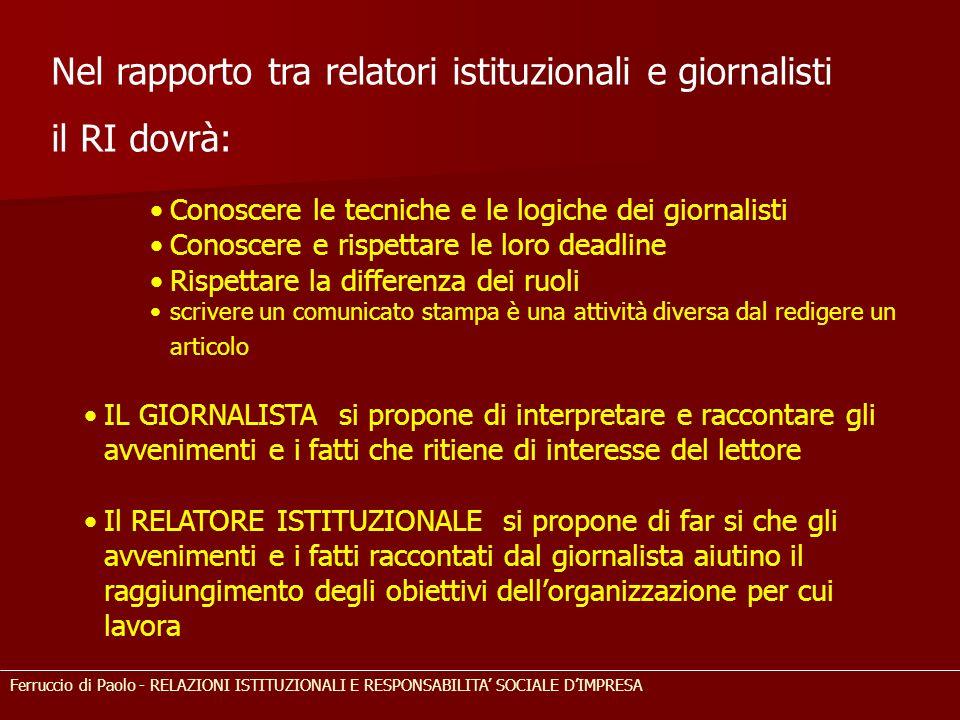 Nel rapporto tra relatori istituzionali e giornalisti il RI dovrà: