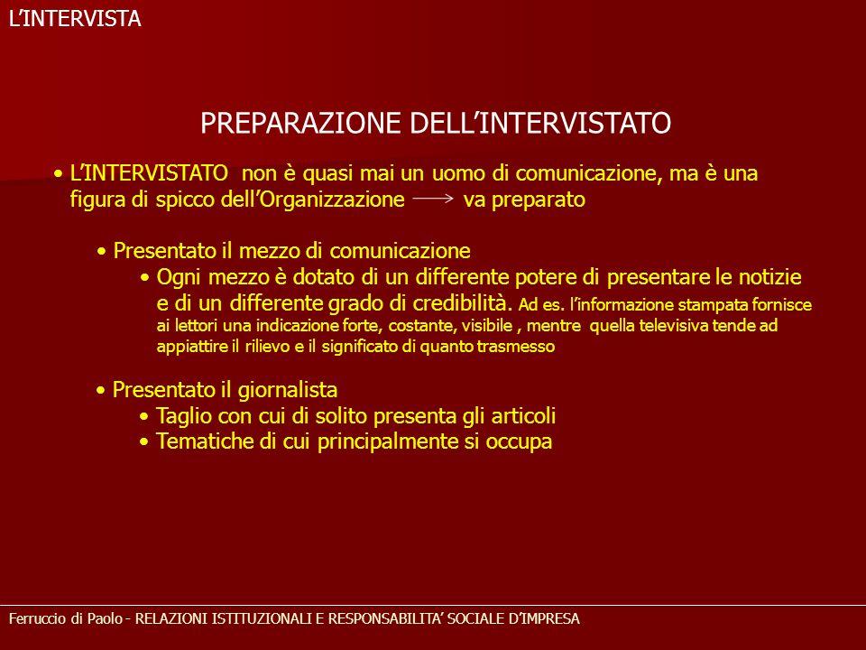 PREPARAZIONE DELL'INTERVISTATO