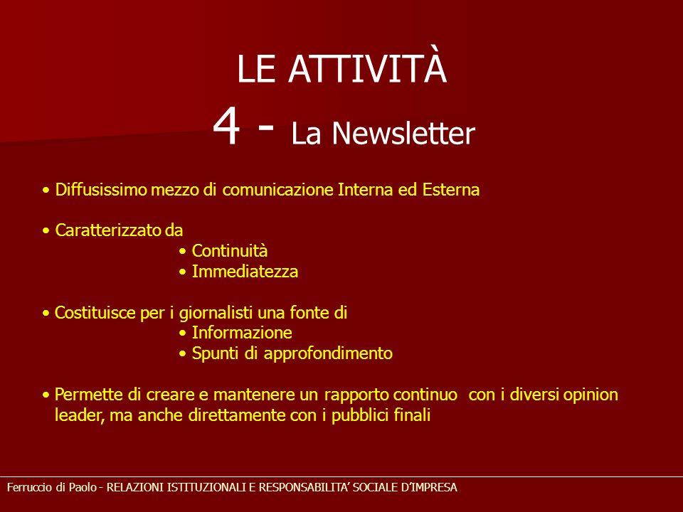 4 - La Newsletter LE ATTIVITÀ