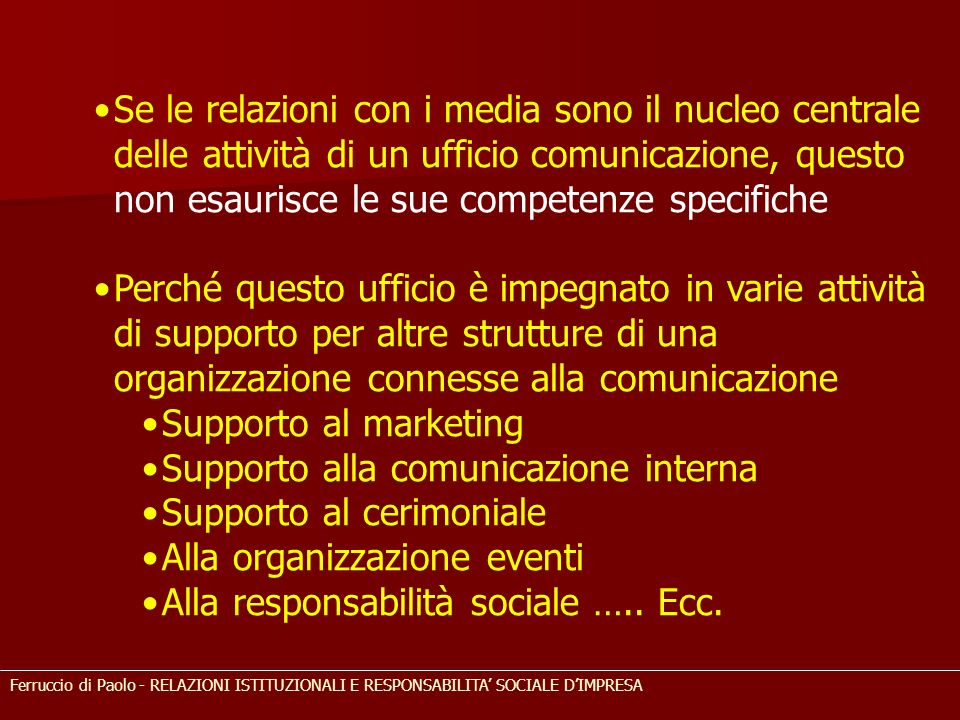 Supporto alla comunicazione interna Supporto al cerimoniale