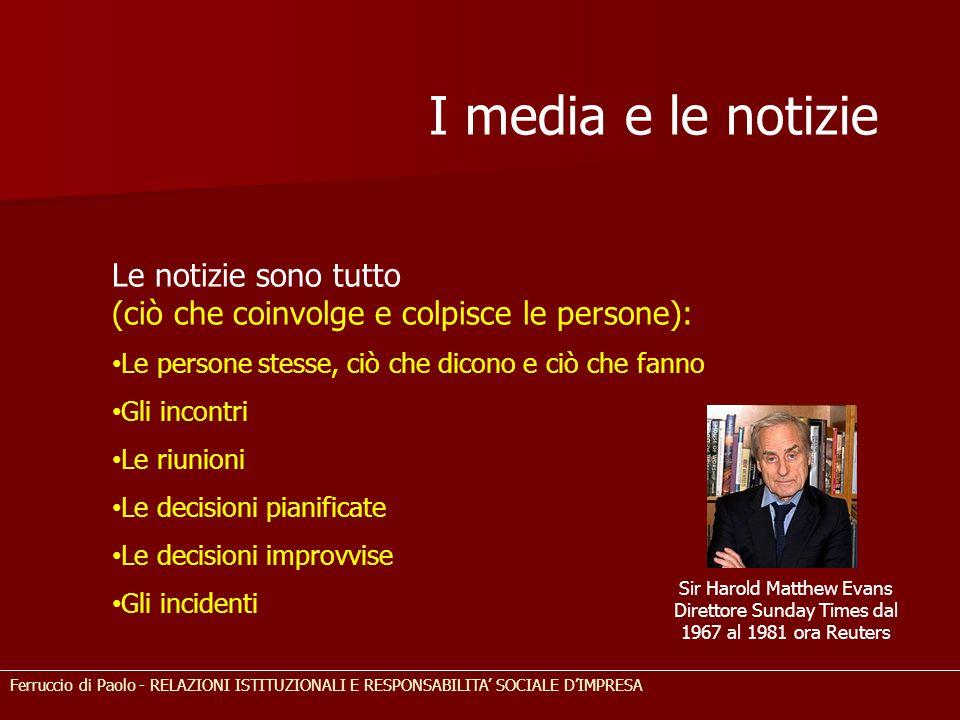 I media e le notizie Le notizie sono tutto (ciò che coinvolge e colpisce le persone): Le persone stesse, ciò che dicono e ciò che fanno.