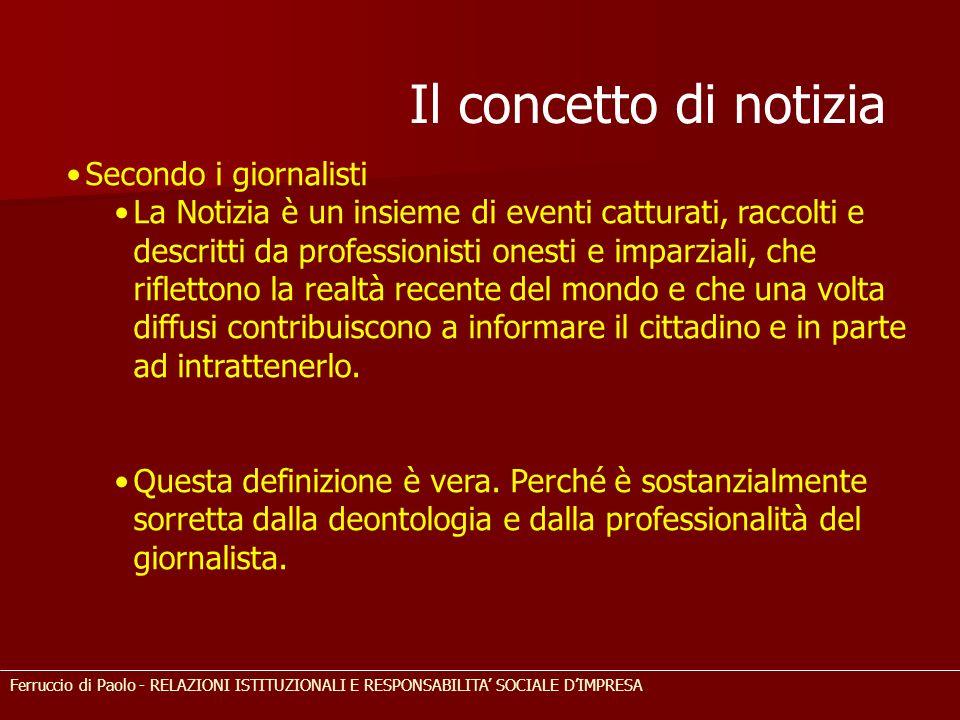 Il concetto di notizia Secondo i giornalisti