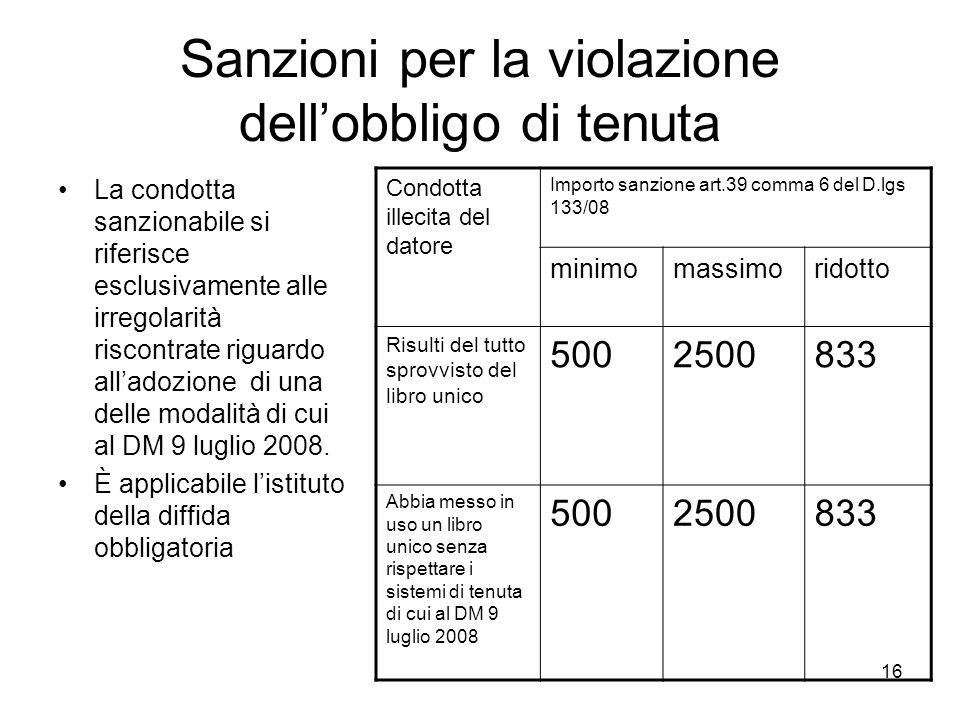 Sanzioni per la violazione dell'obbligo di tenuta