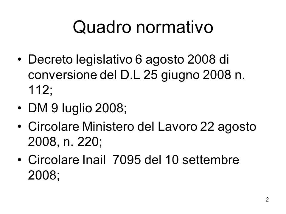 Quadro normativoDecreto legislativo 6 agosto 2008 di conversione del D.L 25 giugno 2008 n. 112; DM 9 luglio 2008;