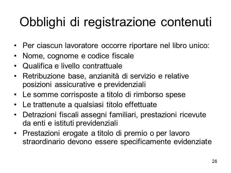 Obblighi di registrazione contenuti