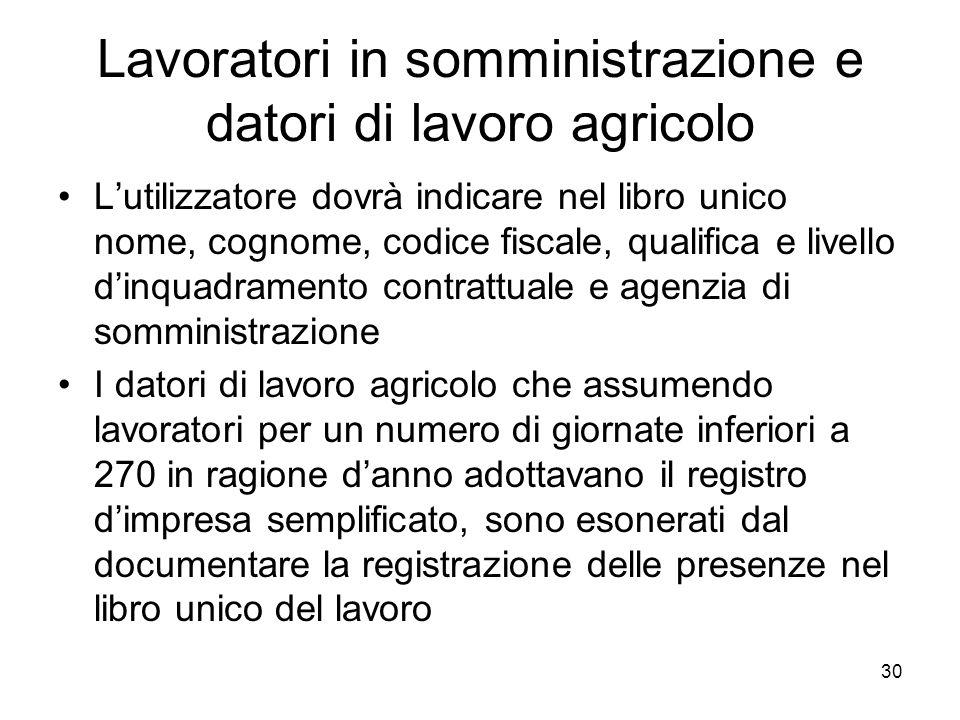 Lavoratori in somministrazione e datori di lavoro agricolo