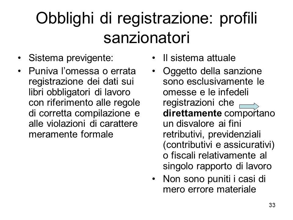 Obblighi di registrazione: profili sanzionatori