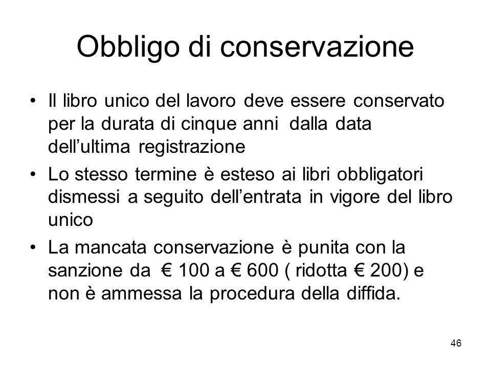 Obbligo di conservazione