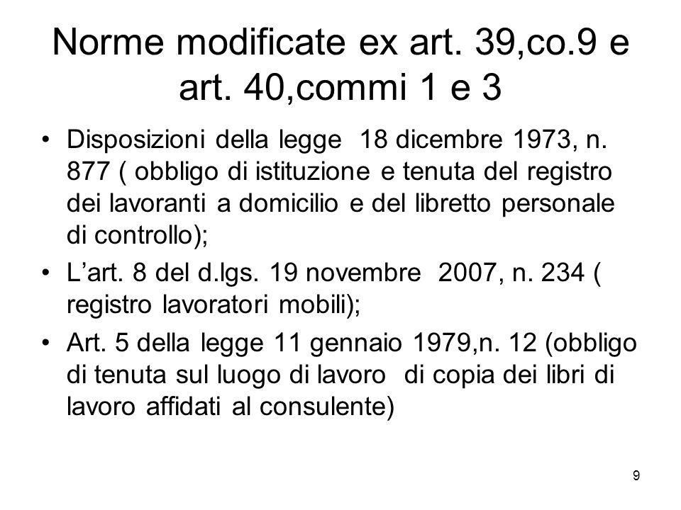 Norme modificate ex art. 39,co.9 e art. 40,commi 1 e 3