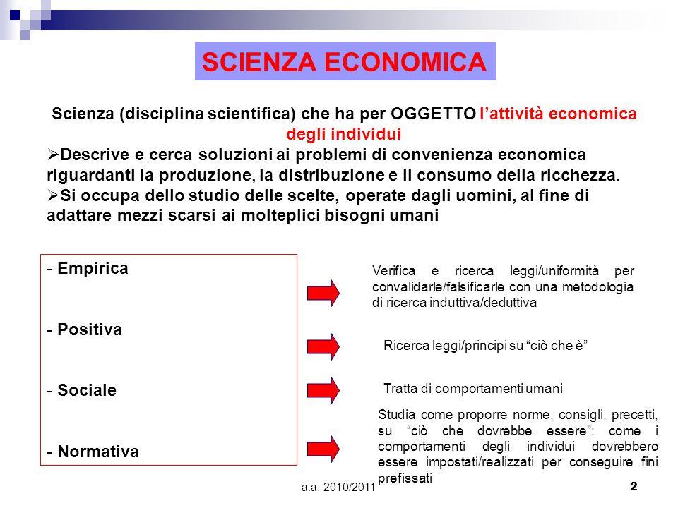 SCIENZA ECONOMICA Scienza (disciplina scientifica) che ha per OGGETTO l'attività economica degli individui.
