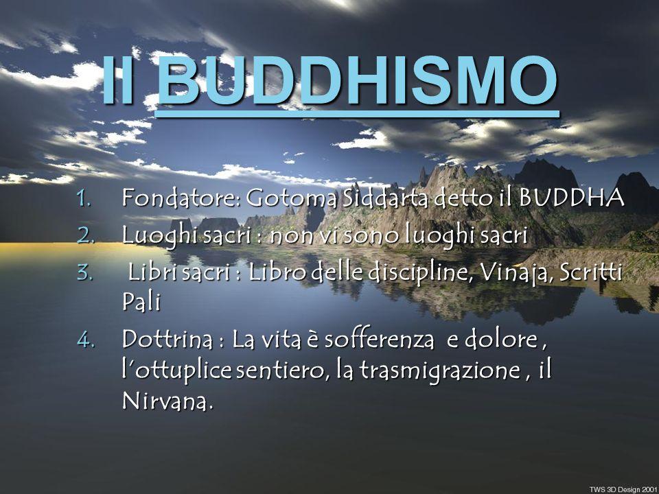 Il BUDDHISMO Fondatore: Gotoma Siddarta detto il BUDDHA