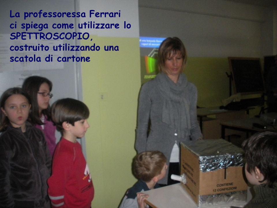 La professoressa Ferrari ci spiega come utilizzare lo SPETTROSCOPIO, costruito utilizzando una scatola di cartone