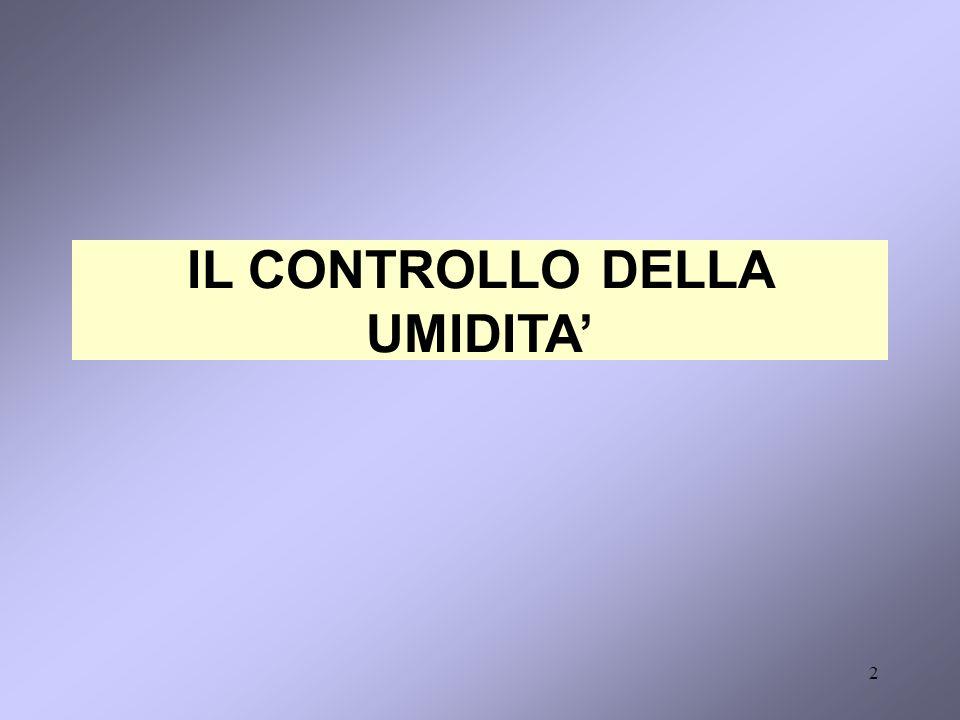 IL CONTROLLO DELLA UMIDITA'