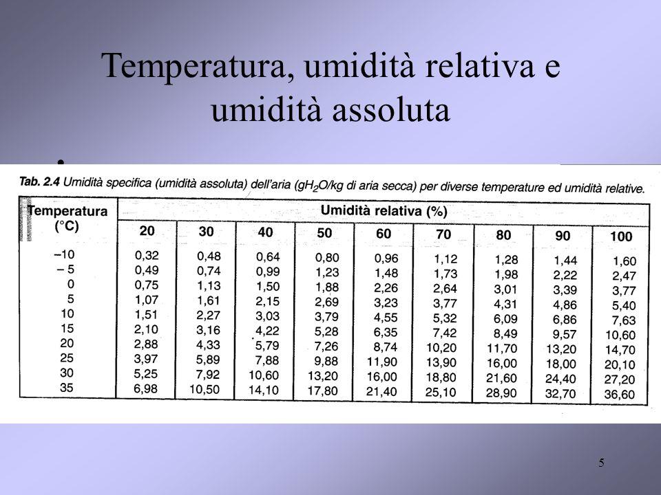 Temperatura, umidità relativa e umidità assoluta