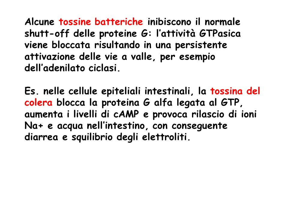 Alcune tossine batteriche inibiscono il normale shutt-off delle proteine G: l'attività GTPasica viene bloccata risultando in una persistente attivazione delle vie a valle, per esempio dell'adenilato ciclasi.