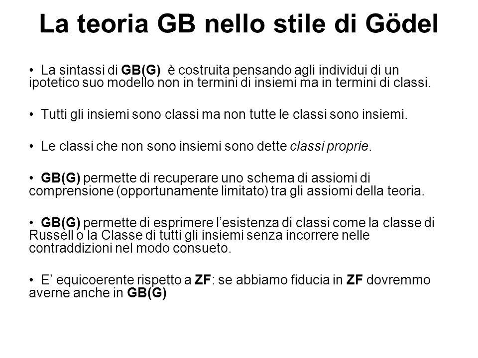 La teoria GB nello stile di Gödel