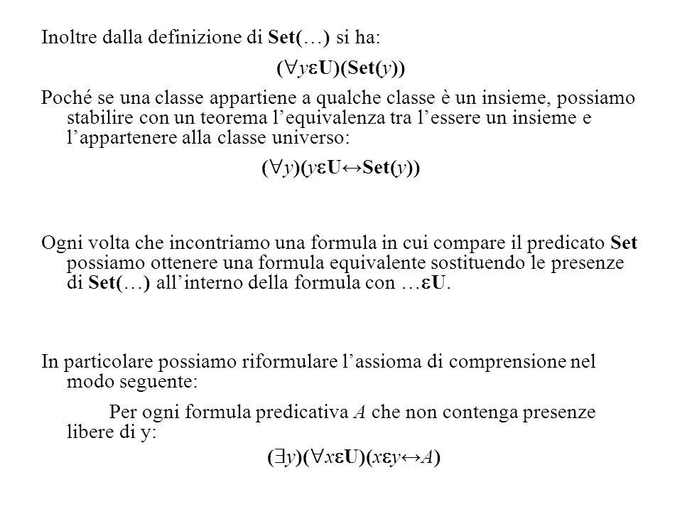 Inoltre dalla definizione di Set(…) si ha: