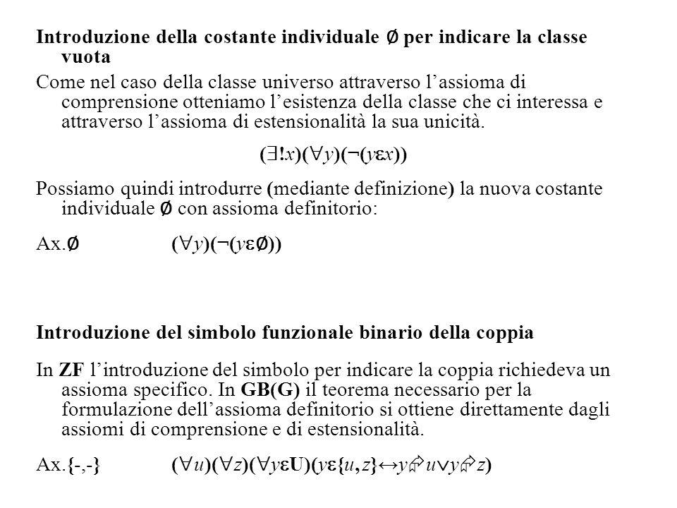 Introduzione della costante individuale ∅ per indicare la classe vuota