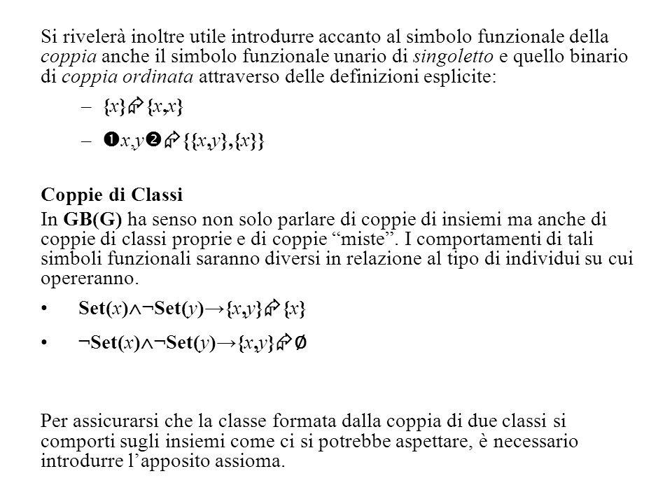 Si rivelerà inoltre utile introdurre accanto al simbolo funzionale della coppia anche il simbolo funzionale unario di singoletto e quello binario di coppia ordinata attraverso delle definizioni esplicite:
