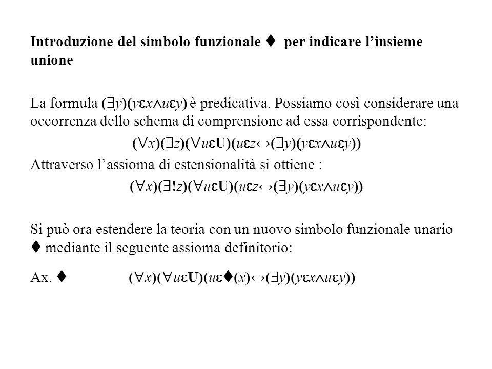 Introduzione del simbolo funzionale  per indicare l'insieme unione