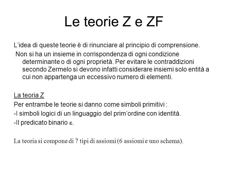 Le teorie Z e ZF L'idea di queste teorie è di rinunciare al principio di comprensione.