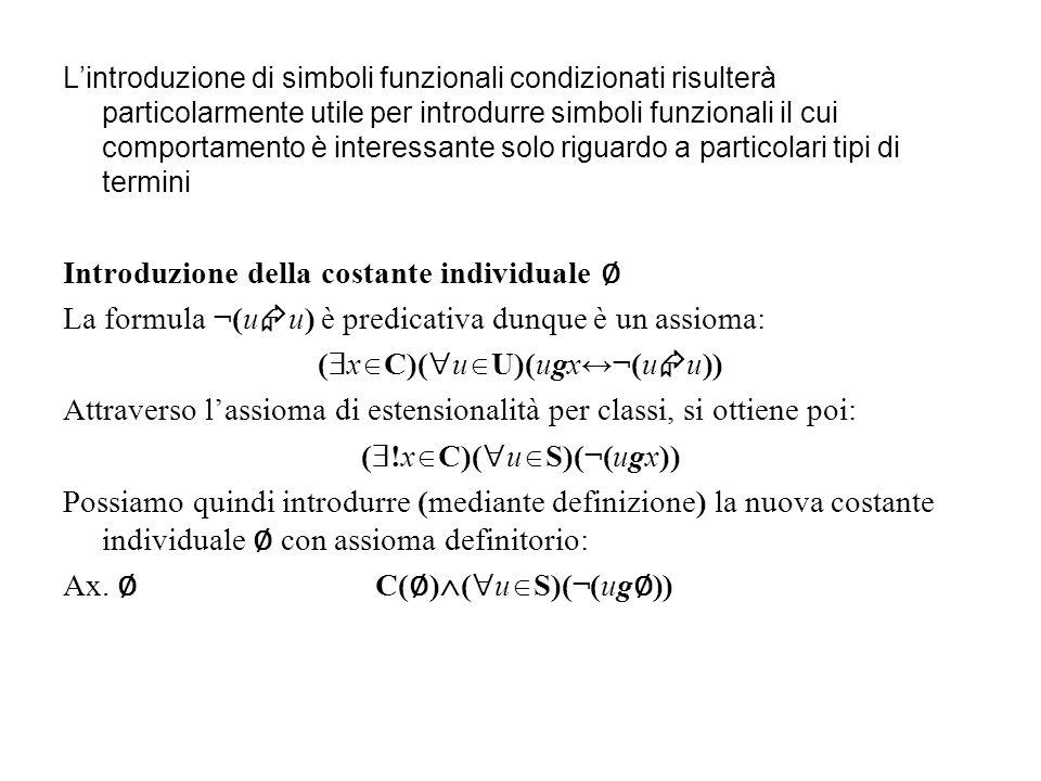 Introduzione della costante individuale ∅