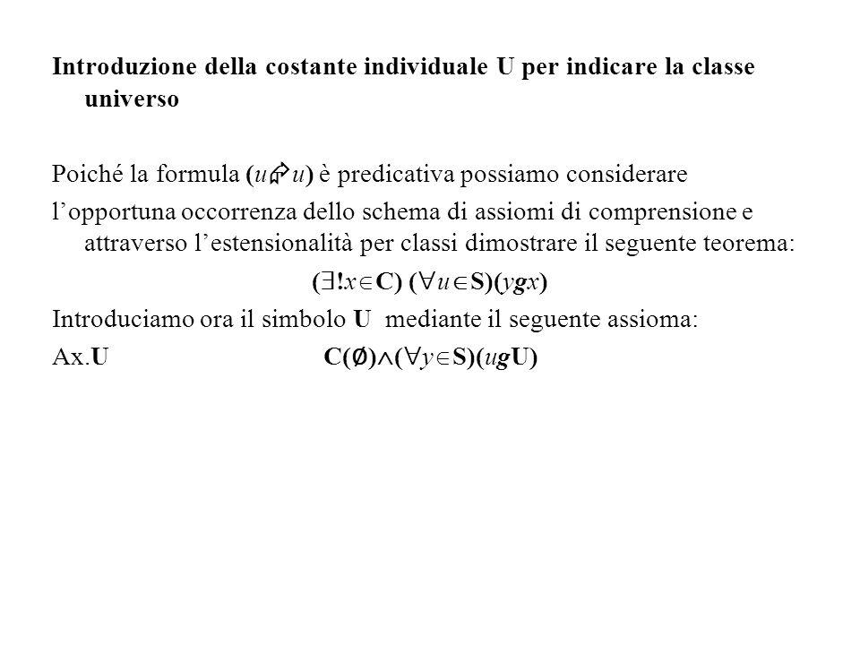 Introduzione della costante individuale U per indicare la classe universo