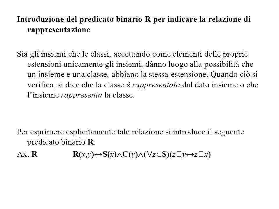 Introduzione del predicato binario R per indicare la relazione di rappresentazione
