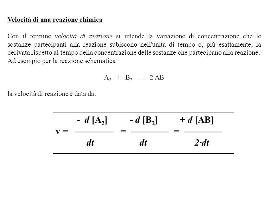 v = ———— = ———— = ———— dt dt 2·dt Velocità di una reazione chimica