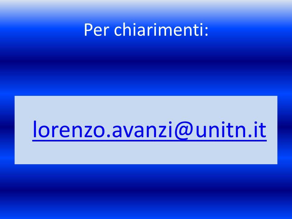 Per chiarimenti: lorenzo.avanzi@unitn.it