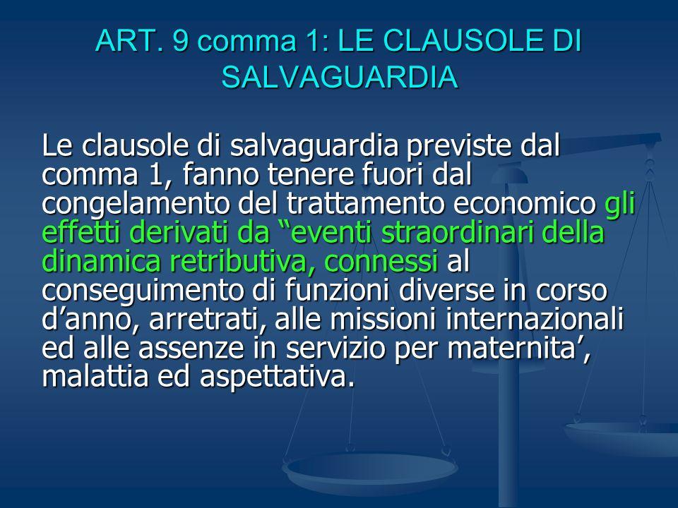 ART. 9 comma 1: LE CLAUSOLE DI SALVAGUARDIA