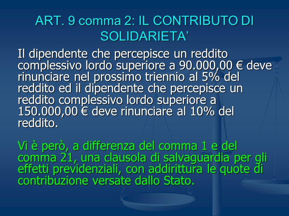 ART. 9 comma 2: IL CONTRIBUTO DI SOLIDARIETA'
