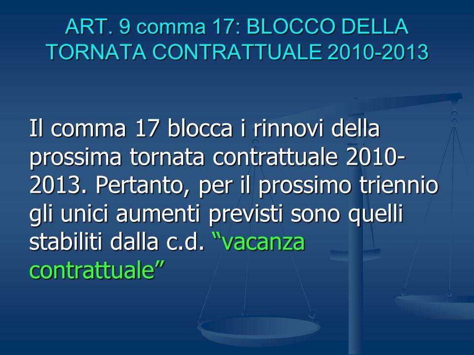 ART. 9 comma 17: BLOCCO DELLA TORNATA CONTRATTUALE 2010-2013