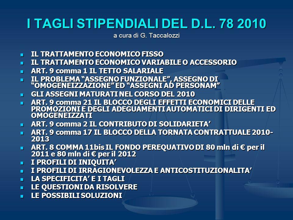 I TAGLI STIPENDIALI DEL D.L. 78 2010 a cura di G. Taccalozzi