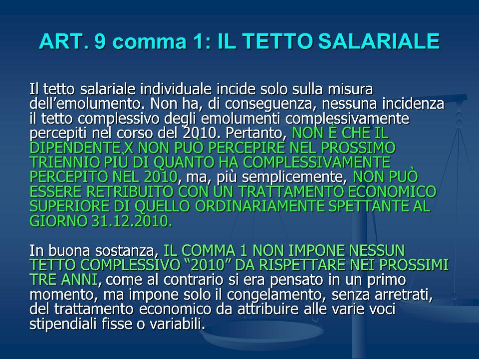 ART. 9 comma 1: IL TETTO SALARIALE
