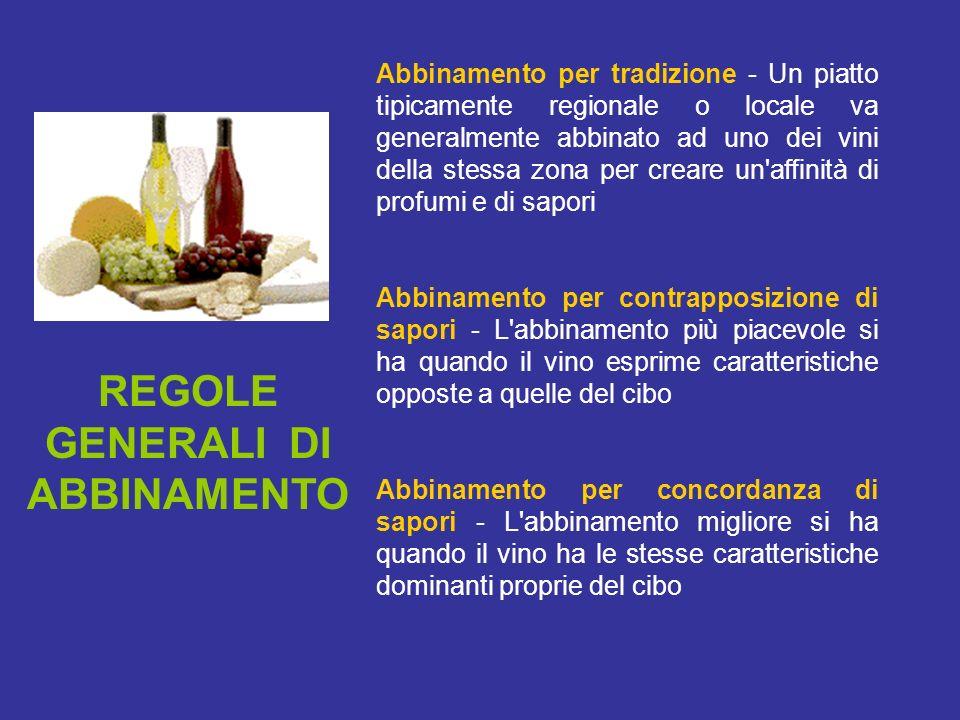 REGOLE GENERALI DI ABBINAMENTO