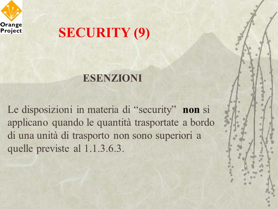 SECURITY (9) ESENZIONI.