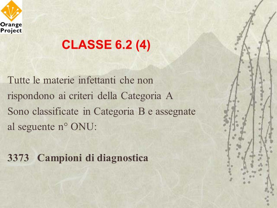 CLASSE 6.2 (4) Tutte le materie infettanti che non
