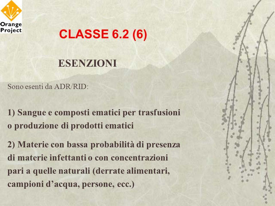 CLASSE 6.2 (6) ESENZIONI 1) Sangue e composti ematici per trasfusioni