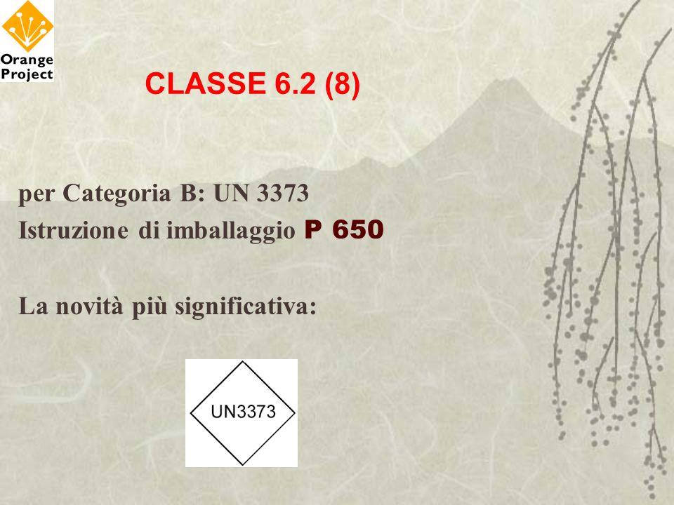 CLASSE 6.2 (8) per Categoria B: UN 3373