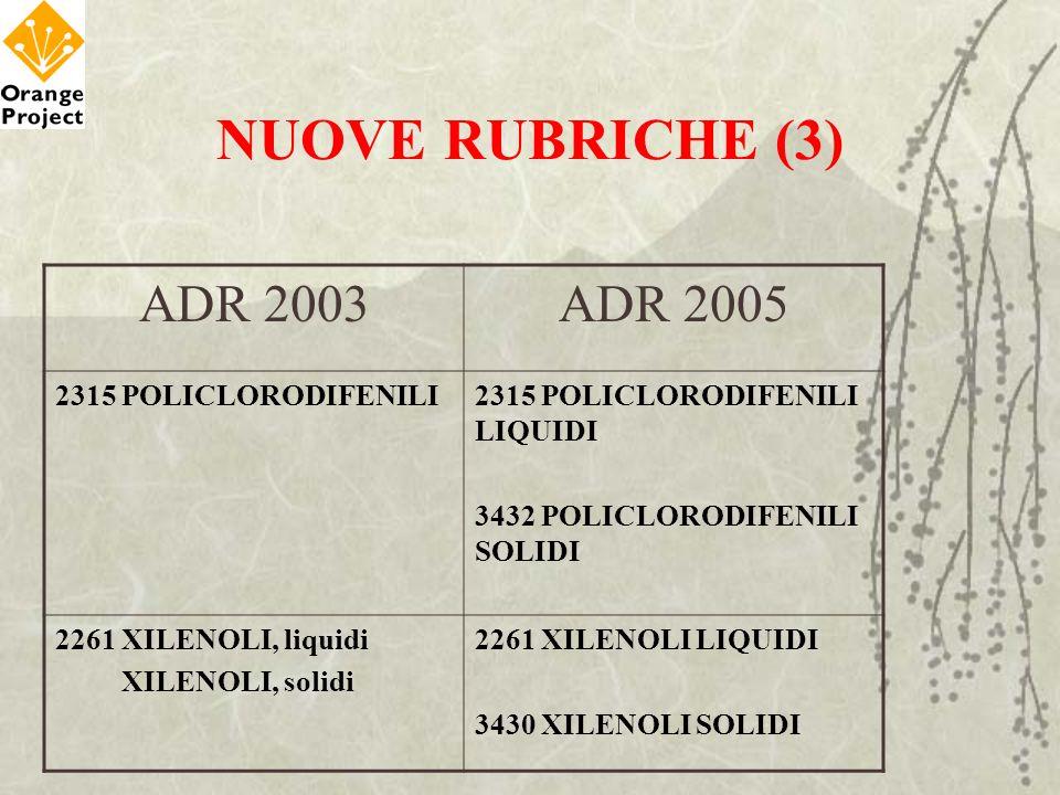 NUOVE RUBRICHE (3) ADR 2003 ADR 2005 2315 POLICLORODIFENILI
