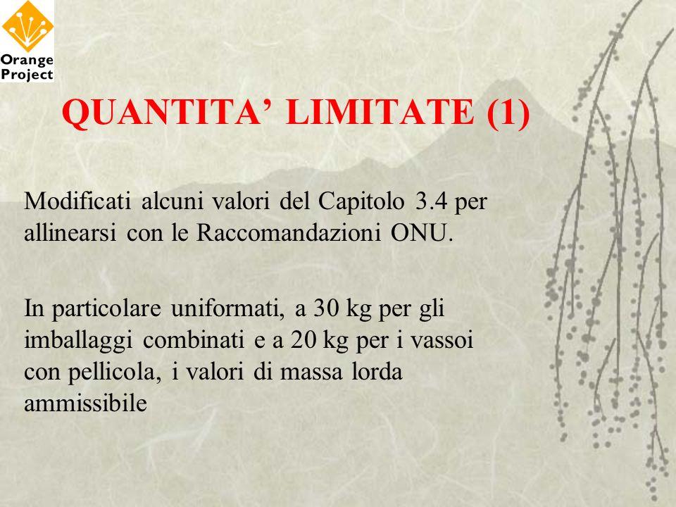 QUANTITA' LIMITATE (1) Modificati alcuni valori del Capitolo 3.4 per allinearsi con le Raccomandazioni ONU.