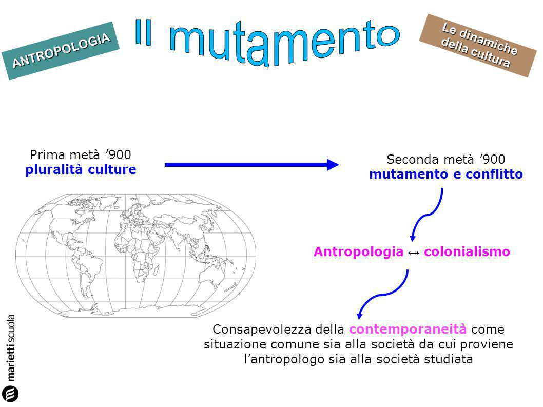 Il mutamento Prima metà '900 pluralità culture
