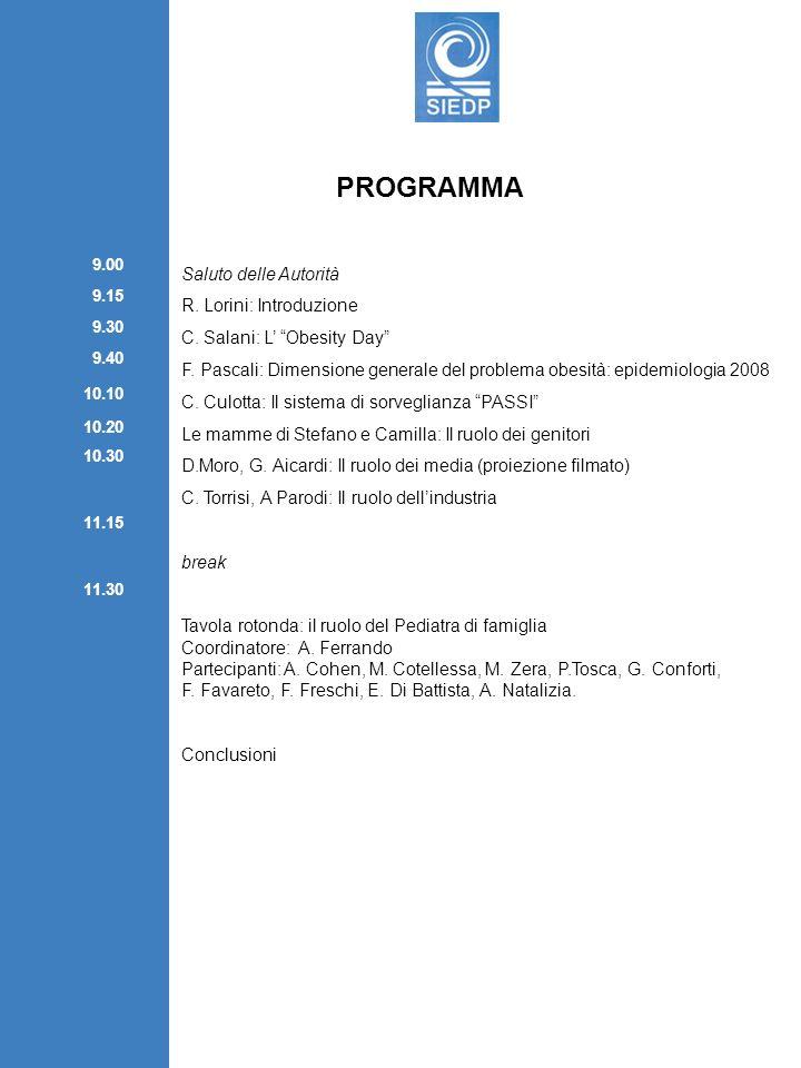 PROGRAMMA Saluto delle Autorità R. Lorini: Introduzione