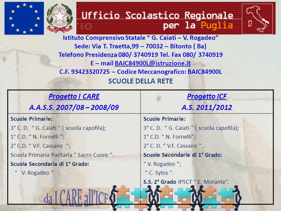 SCUOLE DELLA RETE Progetto I CARE A.A.S.S. 2007/08 – 2008/09