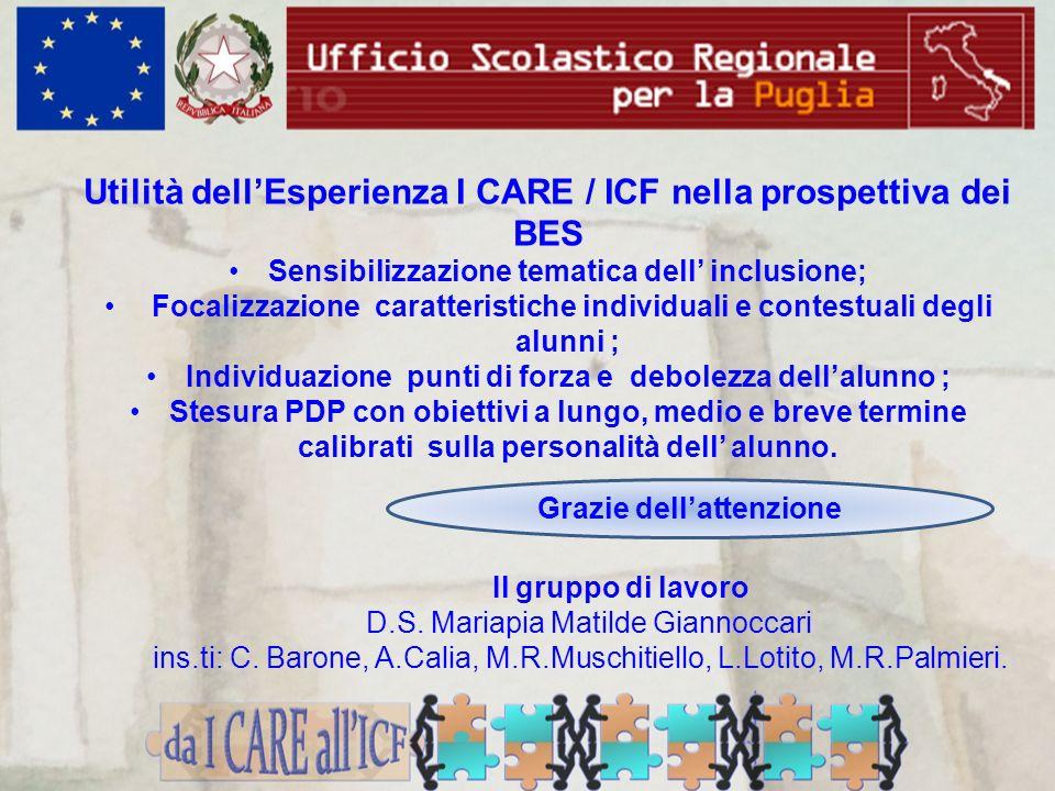 Utilità dell'Esperienza I CARE / ICF nella prospettiva dei BES