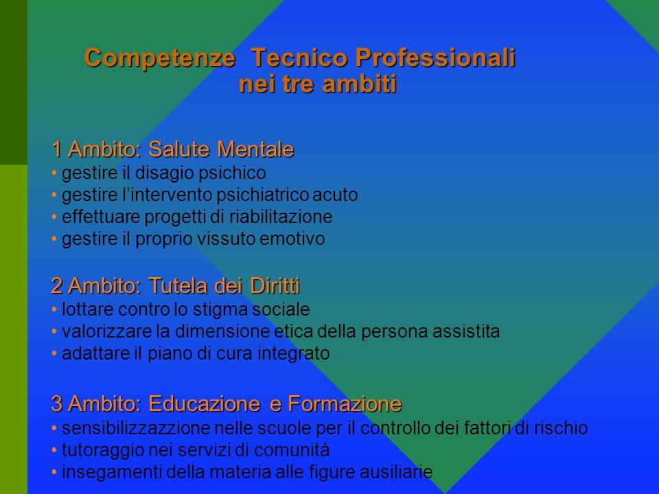 Competenze Tecnico Professionali nei tre ambiti