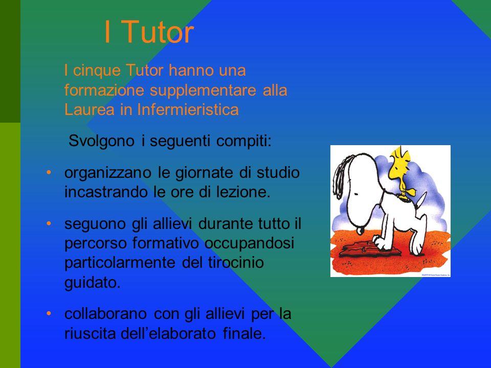 I Tutor I cinque Tutor hanno una formazione supplementare alla Laurea in Infermieristica. Svolgono i seguenti compiti: