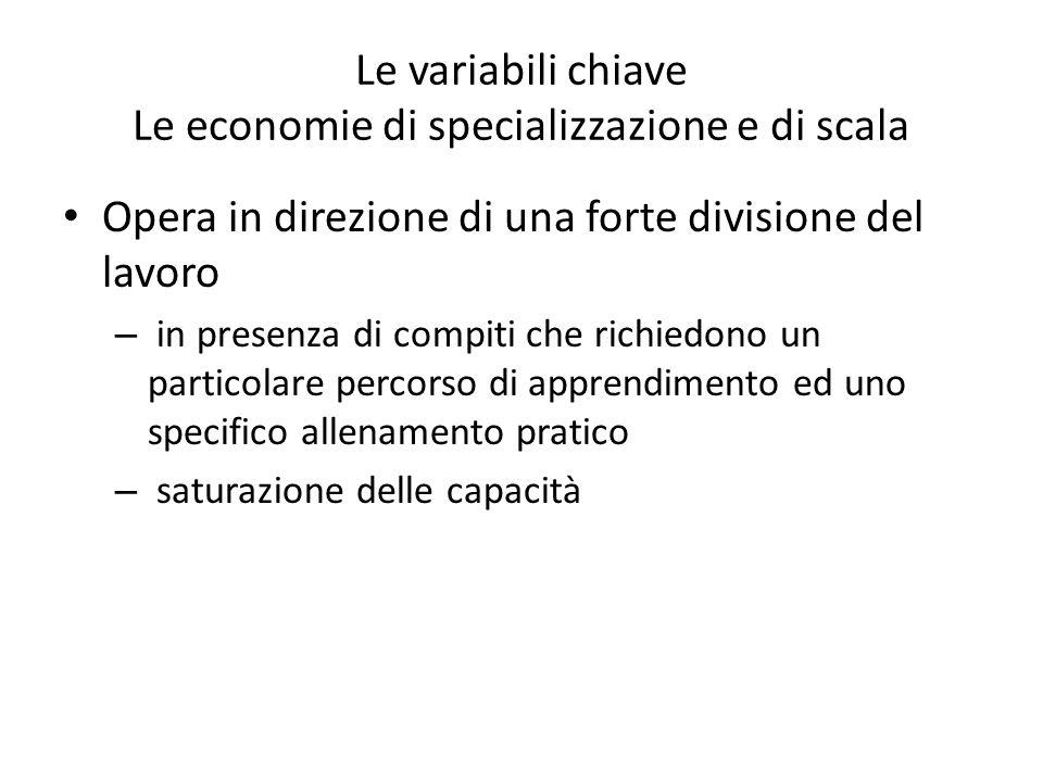 Le variabili chiave Le economie di specializzazione e di scala