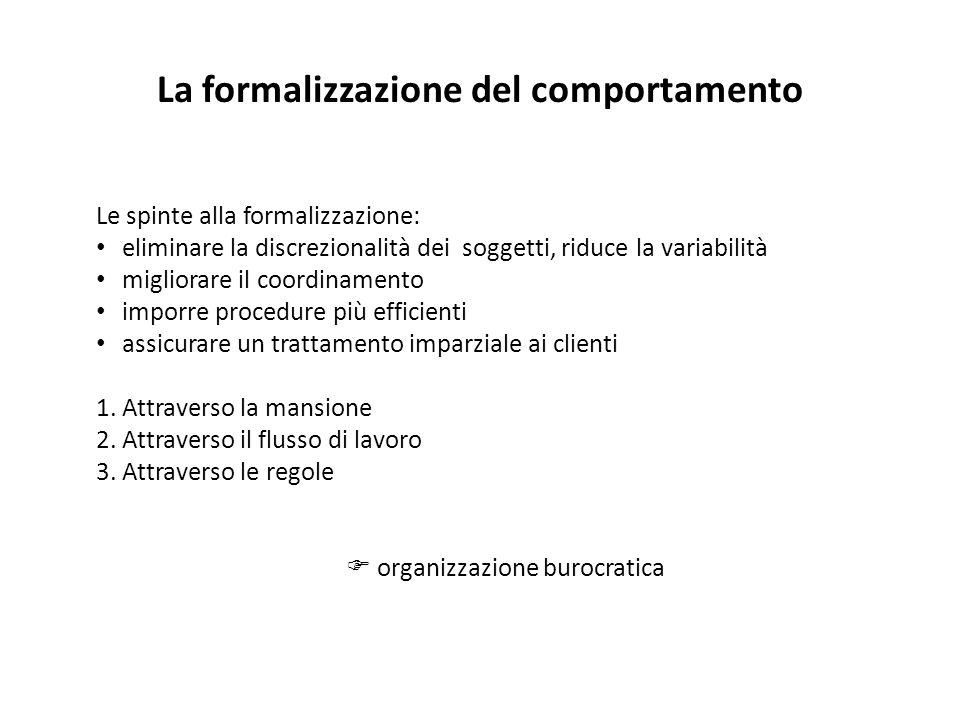 La formalizzazione del comportamento
